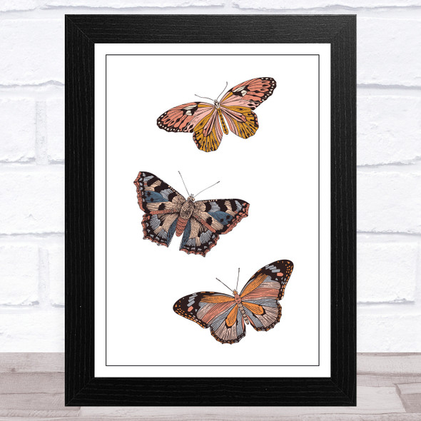 Butterflies On White Background Home Wall Art Print