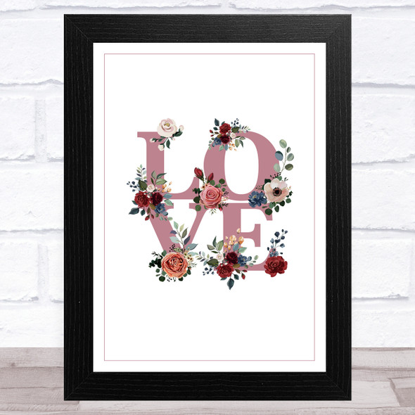 Love Word With Flowers & Border Home Wall Art Print