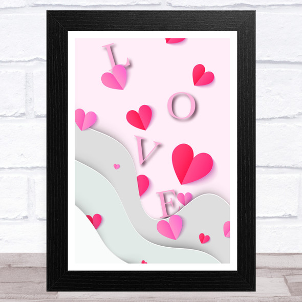 Floating Letters With Hearts Home Wall Art Print