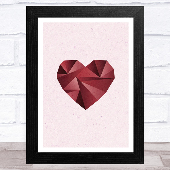 Red Heart On Pink Background Home Wall Art Print