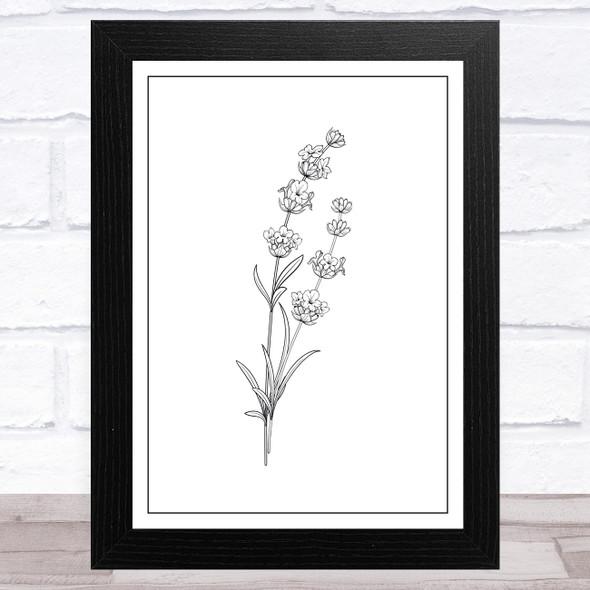 Simple Black Thistle Flower Home Wall Art Print