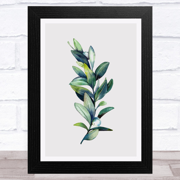 Branch With Berries Taupe Home Wall Art Print