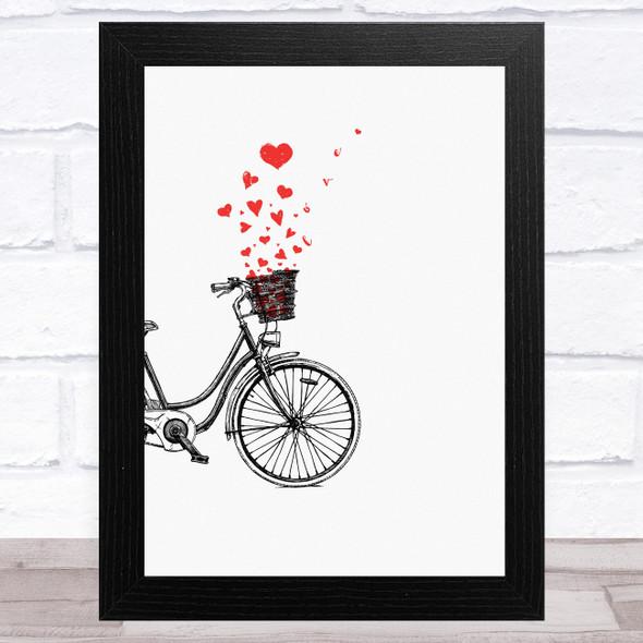 Vintage Bike With Hearts Home Wall Art Print