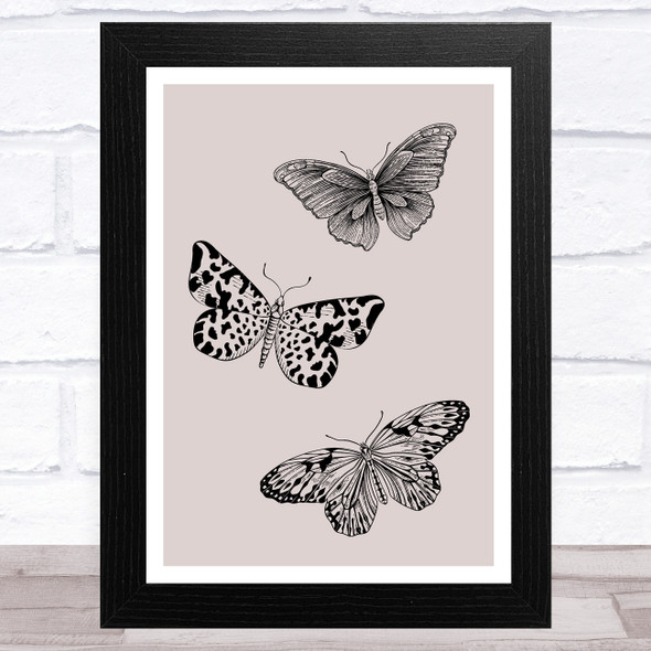 Butterflies On Taupe Home Wall Art Print