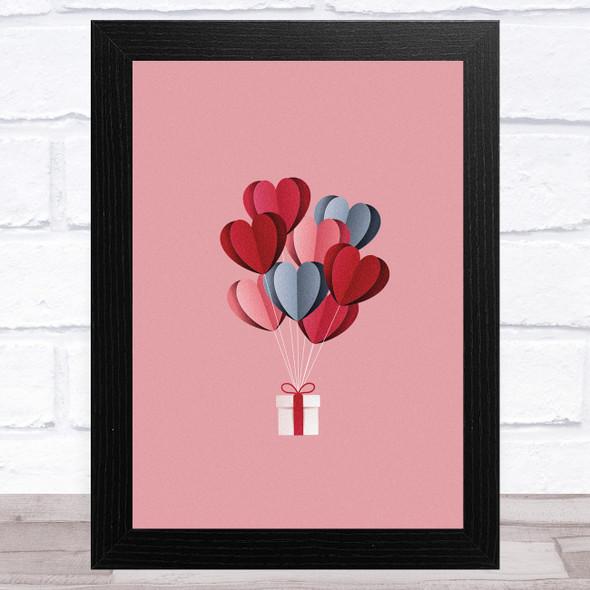 Hearts Balloons Gift Home Wall Art Print