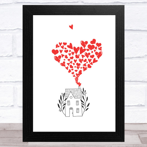 House With Hearts Home Wall Art Print