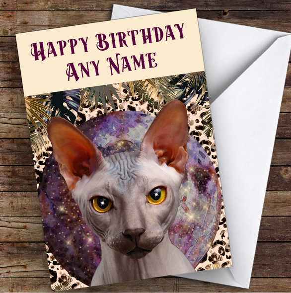 Gothic Mystic Sphynx Cat Purple Gold Personalised Birthday Card