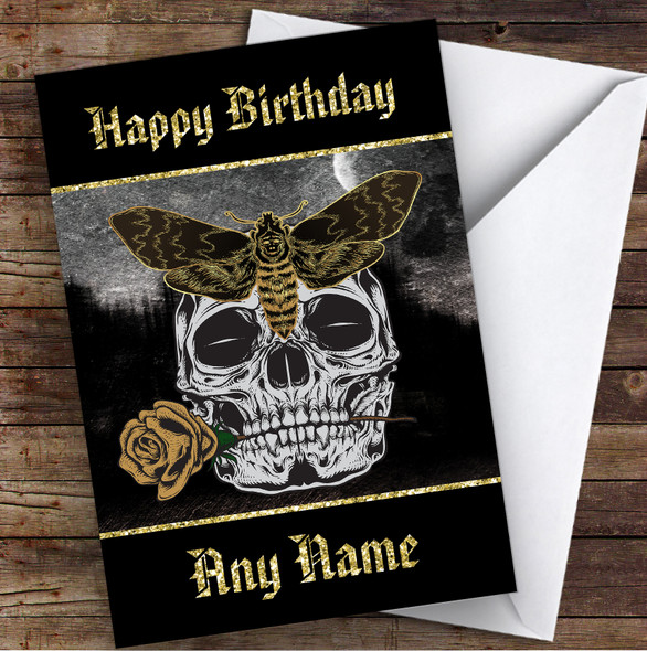 Moth On Skull Holding Rose Gothic Personalised Birthday Card