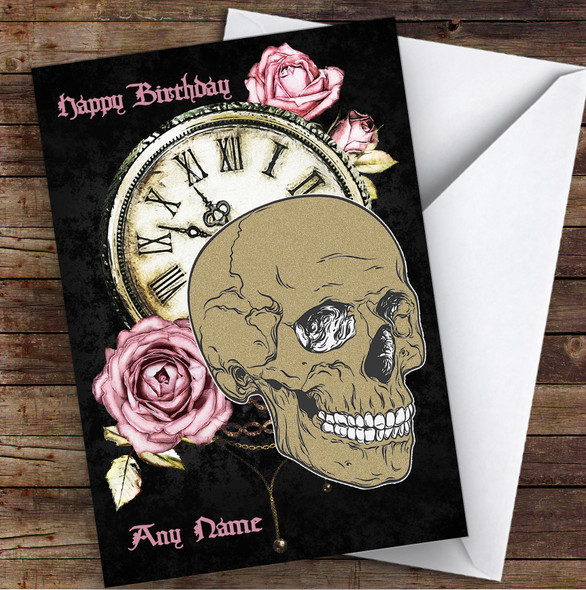 Skull Clock Pink Roses Gothic Personalised Birthday Card