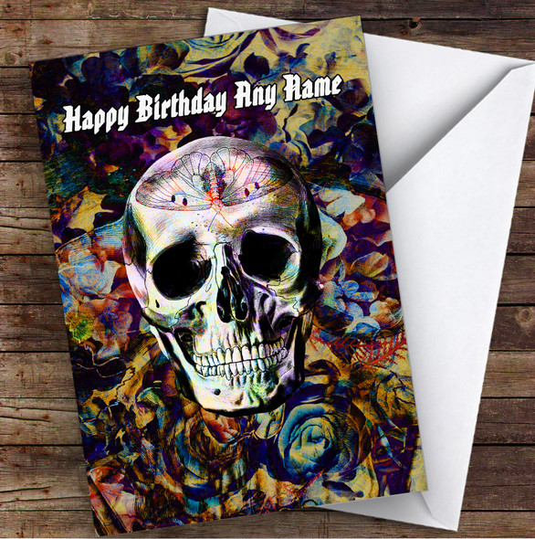 Skull Gothic Butterfly Floral Personalised Birthday Card