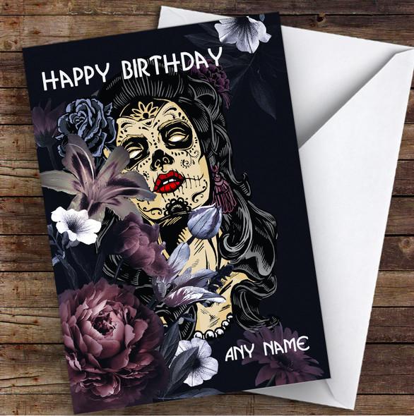 Sugar Skull Flowers Gothic Personalised Birthday Card