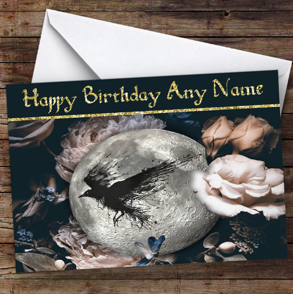 Moon Flowers Raven Gothic Personalised Birthday Card