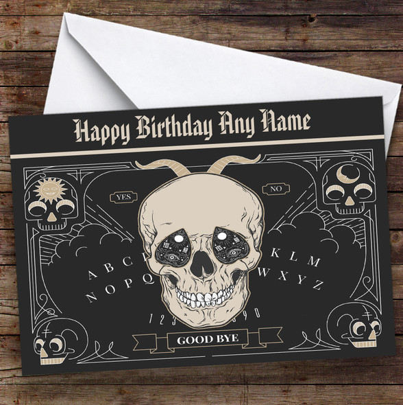 Ouija Skull Gothic Personalised Birthday Card