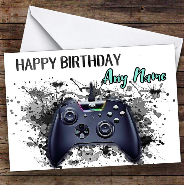 Gaming Xbox Controller Splatter Art Children's Kids Personalised Birthday Card