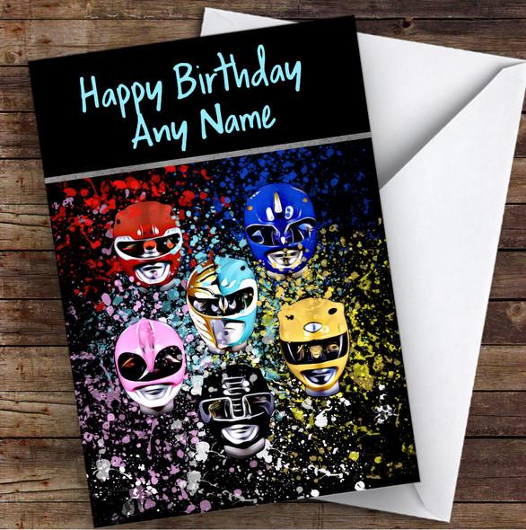 Power Rangers Face Off Splatter Art Children's Kids Personalised Birthday Card