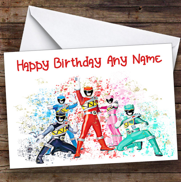 Power Rangers Dino Charge Splatter Art Children's Kids Birthday Card