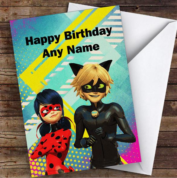 Miraculous Ladybug Bright Children's Kids Personalised Birthday Card