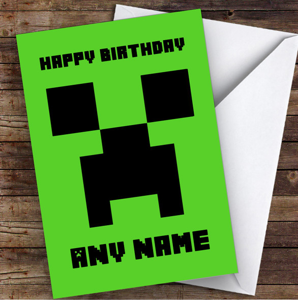 Minecraft Creeper Children's Kids Personalised Birthday Card