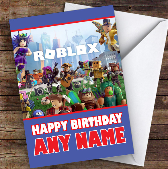 Roblox Red Text Children's Kids Personalised Birthday Card