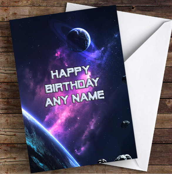 Celestial Collection Planets Stunning Space Personalised Birthday Card