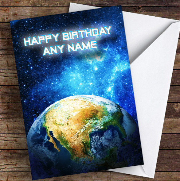 Celestial Collection Planets Space Personalised Birthday Card