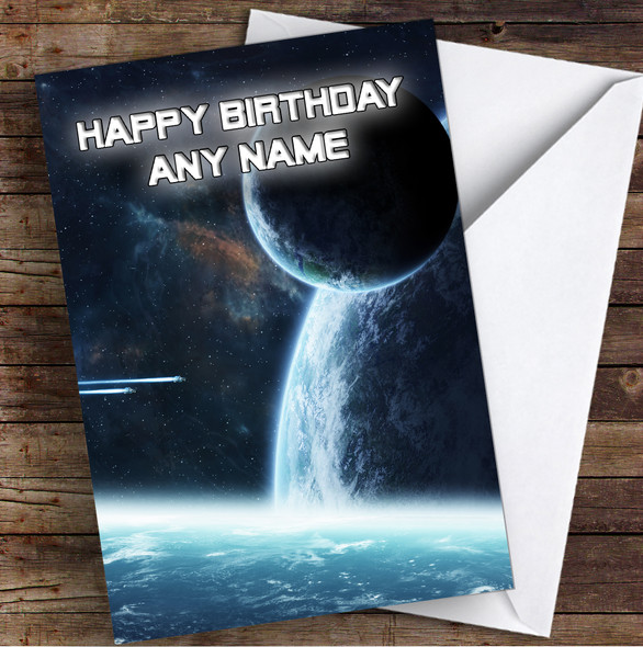 Celestial Collection Planets Space Stunning Personalised Birthday Card
