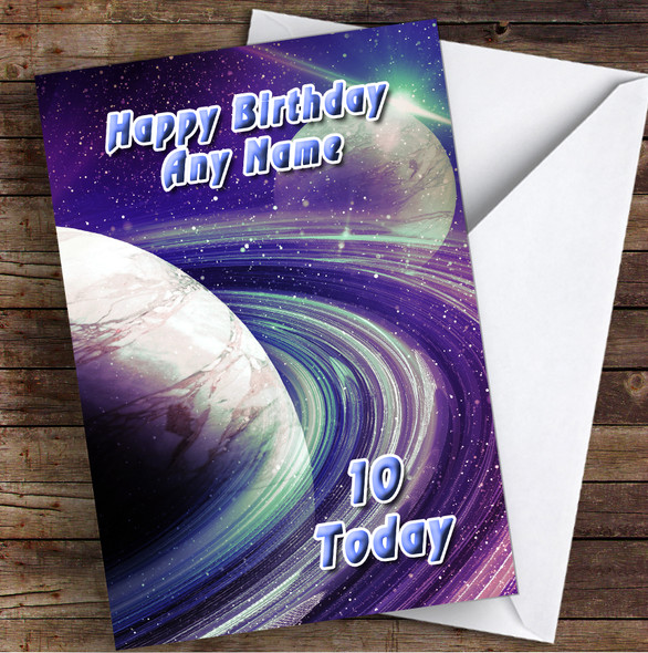 Celestial Collection Planets Space Purple Personalised Birthday Card