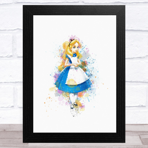 Alice In Wonderland Watercolour Splatter Children's Kid's Wall Art Print