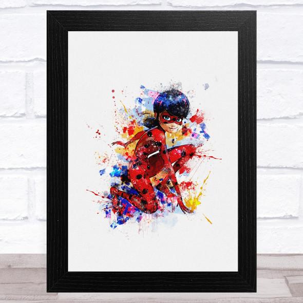 Miraculous Ladybug Watercolour Splatter Children's Kid's Wall Art Print