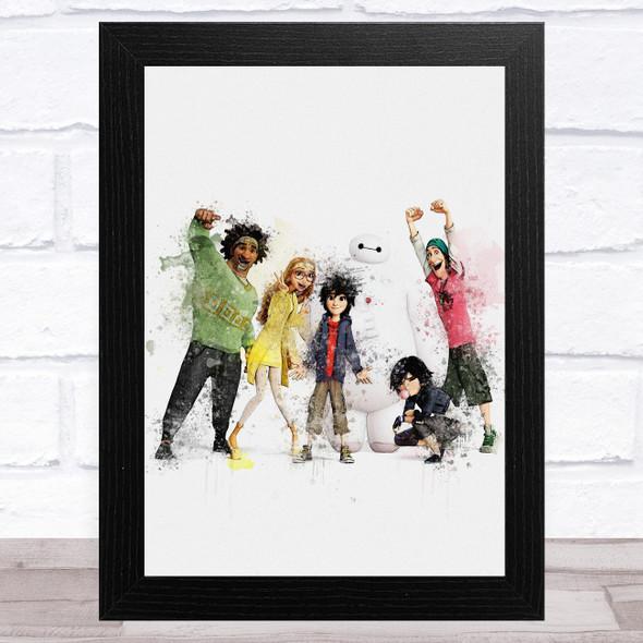 Big Hero 6 Watercolour Splatter Children's Kid's Wall Art Print