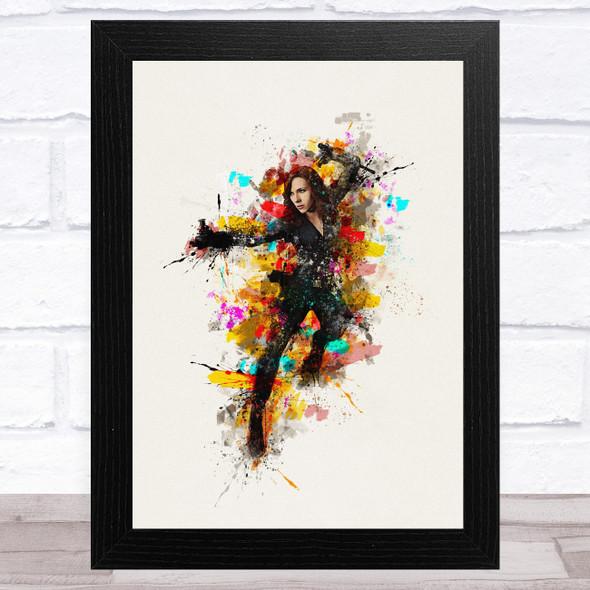 Black Widow Colour Splatter Children's Kid's Wall Art Print