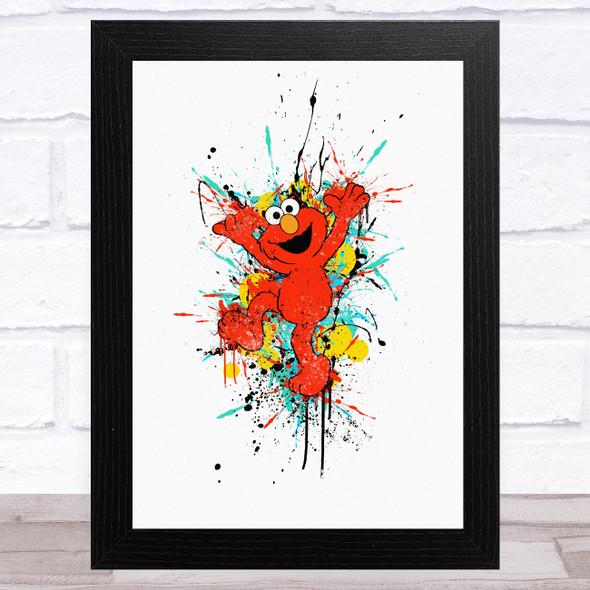 Sesame Street Elmo Splatter Children's Kid's Wall Art Print