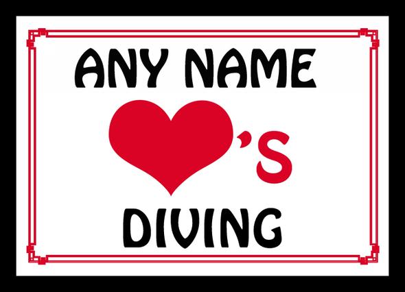 Love Heart Diving Personalised Mousemat