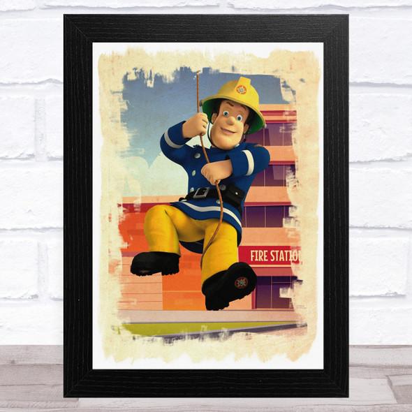Fireman Sam Swinging Children's Kid's Wall Art Print