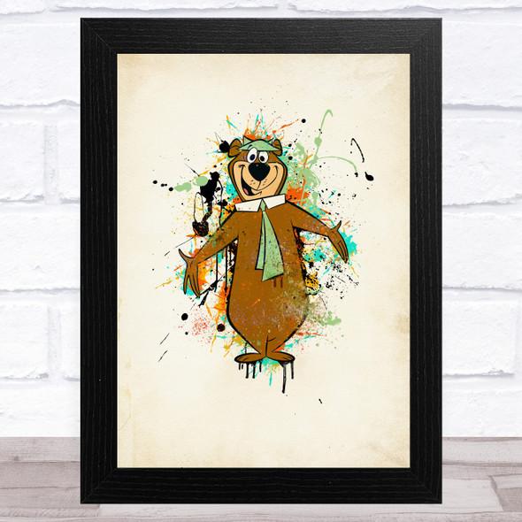 Yogi Bear Splatter Children's Kid's Wall Art Print