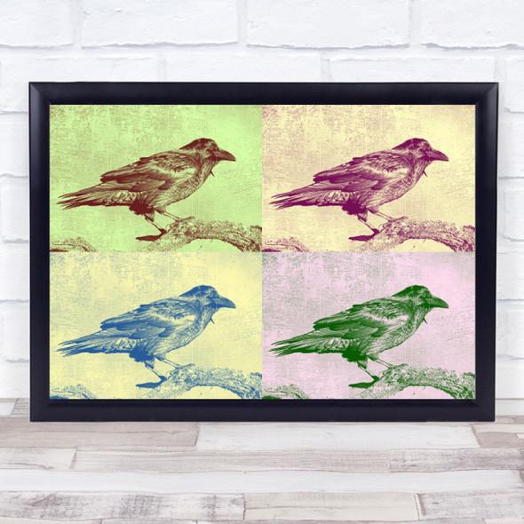 Vintage Crow Screen Print Animal Wall Art Print