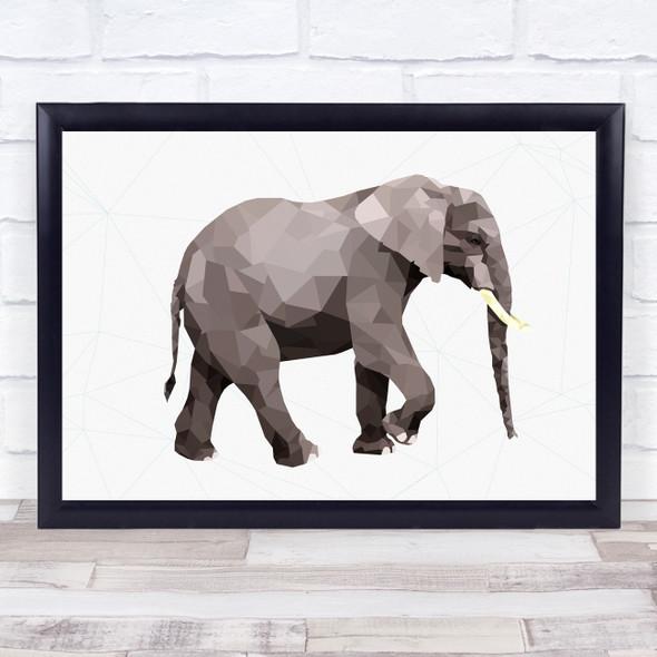 Elephant Polygon Style Animal Wall Art Print