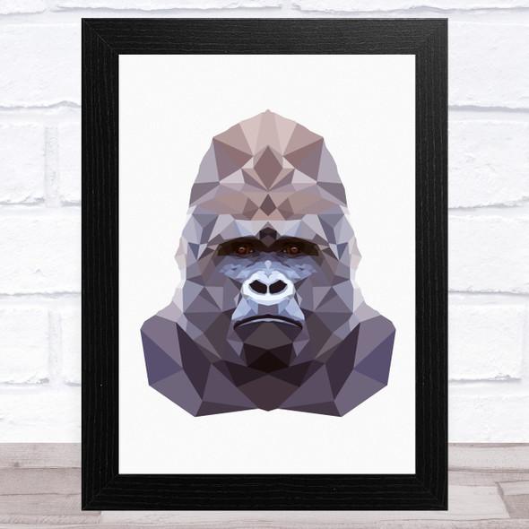 Polygon Style Gorilla Animal Wall Art Print