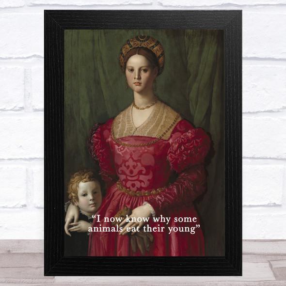 Renaissance Humour Woman & Child Funny Eccentric Wall Art Print