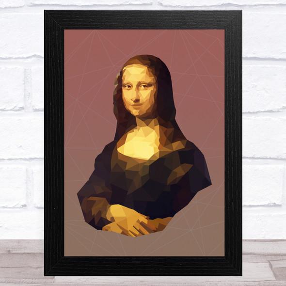 Mona Lisa Red Polygon Wall Art Print