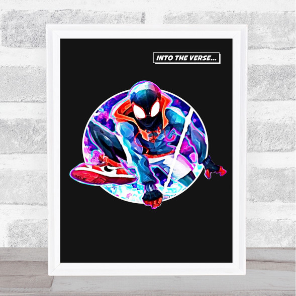 Spiderman Into The Verse Watercolour Movie Poster Film Wall Art Print