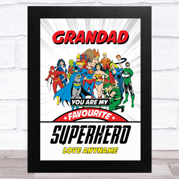 Grandad My Favourite Superhero Vintage Personalised Dad Father's Day Gift Print