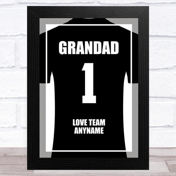 Grandad No.1 Football Shirt Black Personalised Dad Father's Day Gift Print