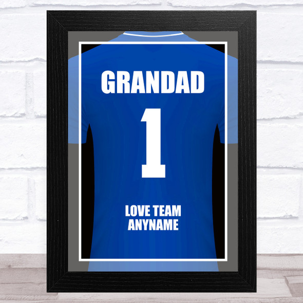 Grandad No.1 Football Shirt Blue Personalised Dad Father's Day Gift Print