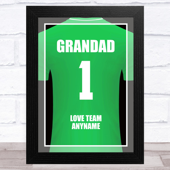 Grandad No.1 Football Shirt Green Personalised Dad Father's Day Gift Print