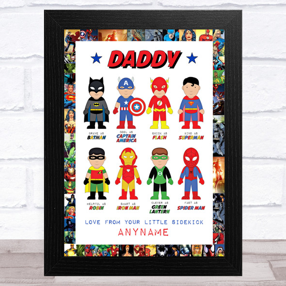 Dad Like My Favourite Super Hero's Personalised Dad Father's Day Gift Print