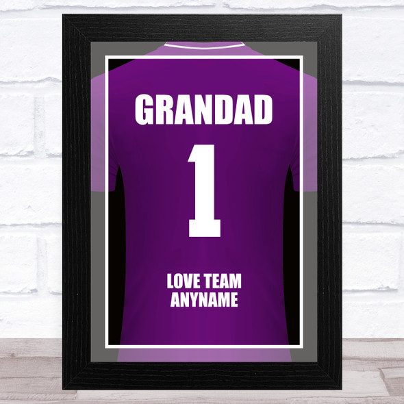 Grandad No.1 Football Shirt Purple Personalised Dad Father's Day Gift Print