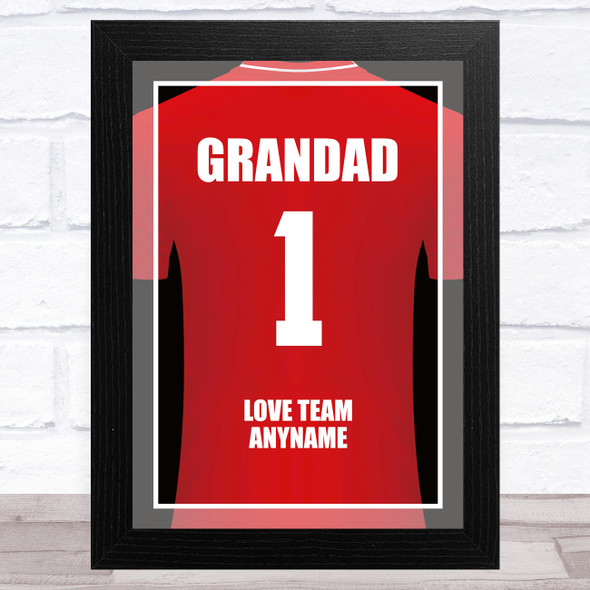 Grandad No.1 Football Shirt Red Personalised Dad Father's Day Gift Print