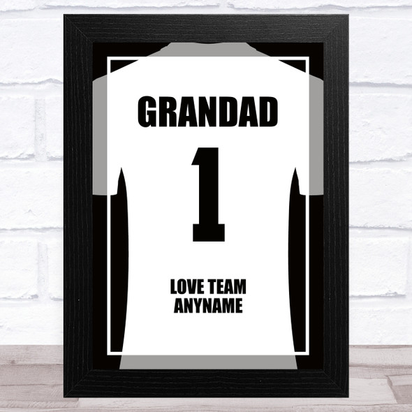 Grandad No.1 Football Shirt White Personalised Dad Father's Day Gift Print