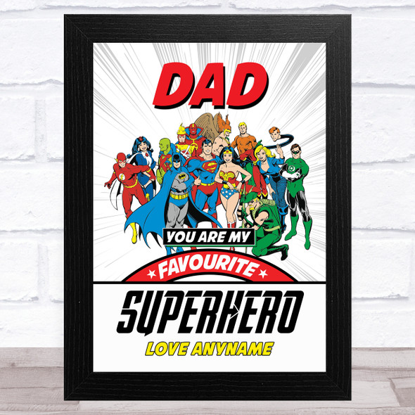 Dad My Favourite Superhero Vintage Personalised Dad Father's Day Gift Print